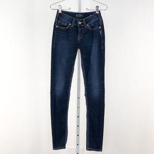 Silver Jeans Dark Wash Suki Mid Rise Skinny Jeans